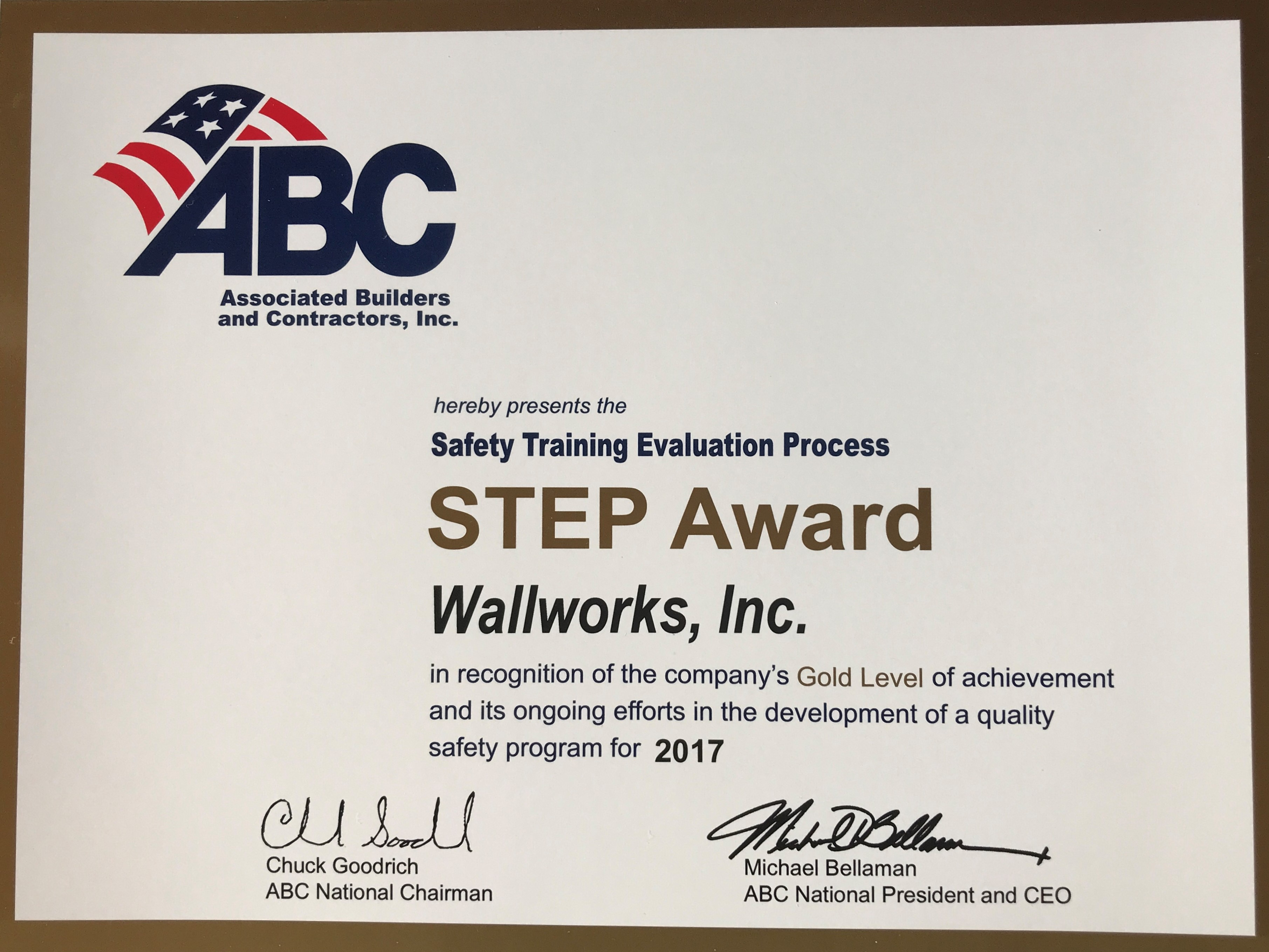 Wallworks awarded STEP Gold for commitment to Safety!