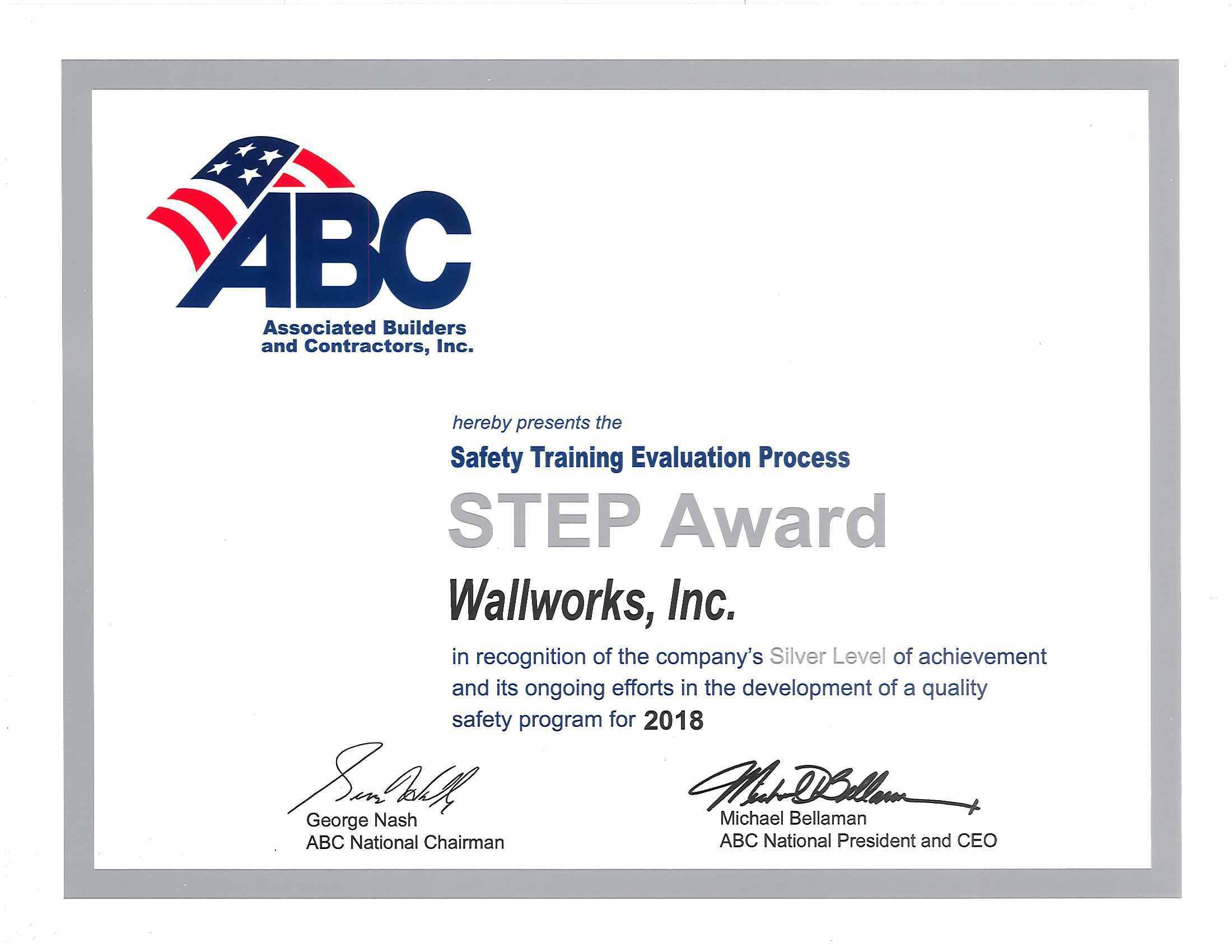Congratulations to the Team at Wallworks for your on-going commitment to Safety in Construction!